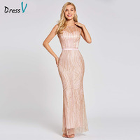 Dressv pink long trumpet evening dress backless cheap scoop neck lace wedding party formal dress mermaid evening dresses