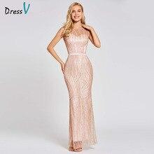 Dressv ורוד ארוך חצוצרת שמלת ערב ללא משענת זול סקופ צוואר תחרה חתונה מסיבת לבוש הרשמי בת ים ערב שמלות