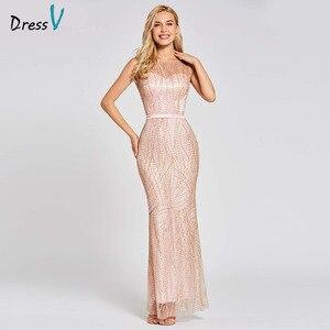 Image 1 - Vestido de noche de trompeta largo, rosa, sin espalda, económico, con cuello redondo, de encaje, para fiesta de boda, formal, tipo sirena