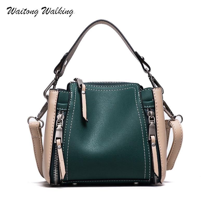 2017 Autumn New Women Messenger Bags Designer Handbags Mini Leather Crossbody Bag Bucket Shoulder Handbag Panelled Package a022