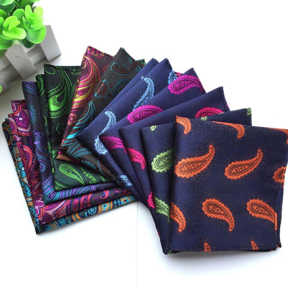 Men Bright Color Paisley Floral Hanky Gorgeous Jacquard Pocket Square BWTHZ0049