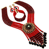 Boho Bohemian Ethnic Jewelry Sets Red Black Multi Layer Statement Necklace Earrings African Beads Jewelry Set Women 6C SDLS 006