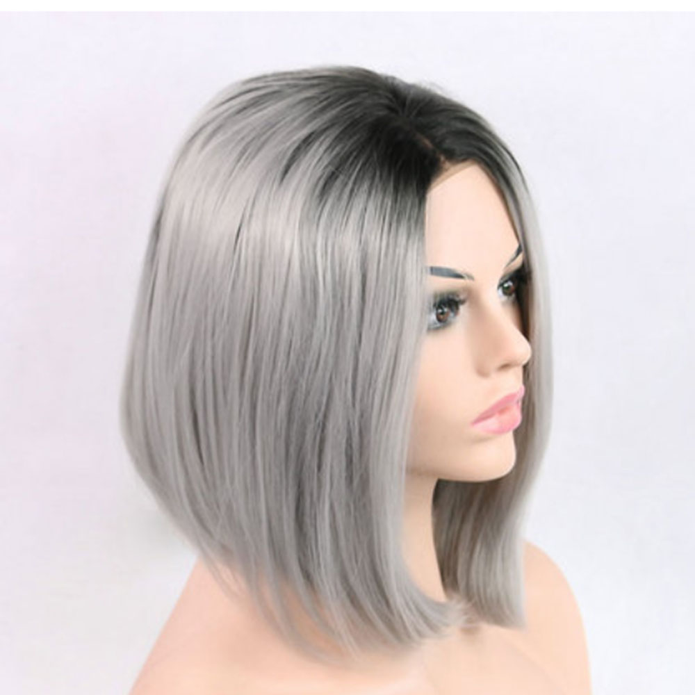 Short Hair Bob Wig Synthetic Lace Front Ombre Gray Lace Front Wig Bob Cheap Wigs-3
