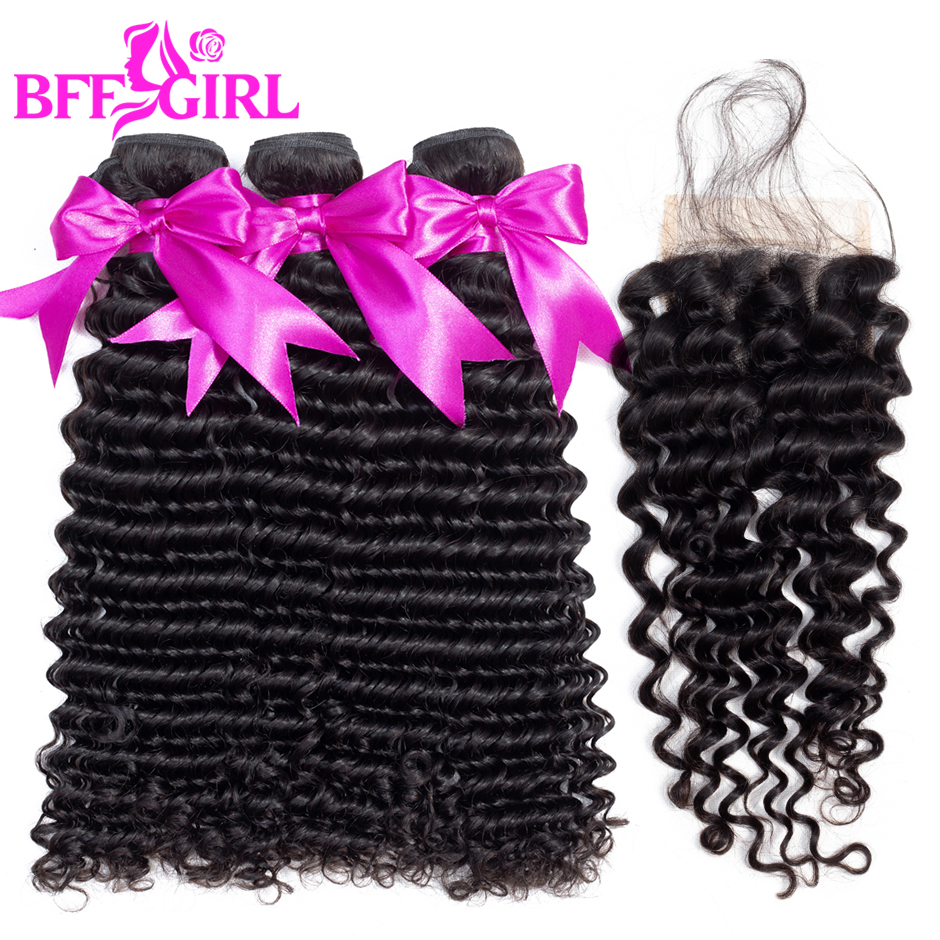 BFF GIRL Brazilian Deep Wave Bundles With Closure Human Hair Weave 3 or 4 Bundles With 4*4 Lace Closure Non Remy Hair Extensions
