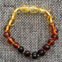 Yoowei bebê dentição âmbar pulseira para meninos menina melhor senhoras presente natural báltico âmbar jóias adulto tornozeleira tamanhos 13-23cm