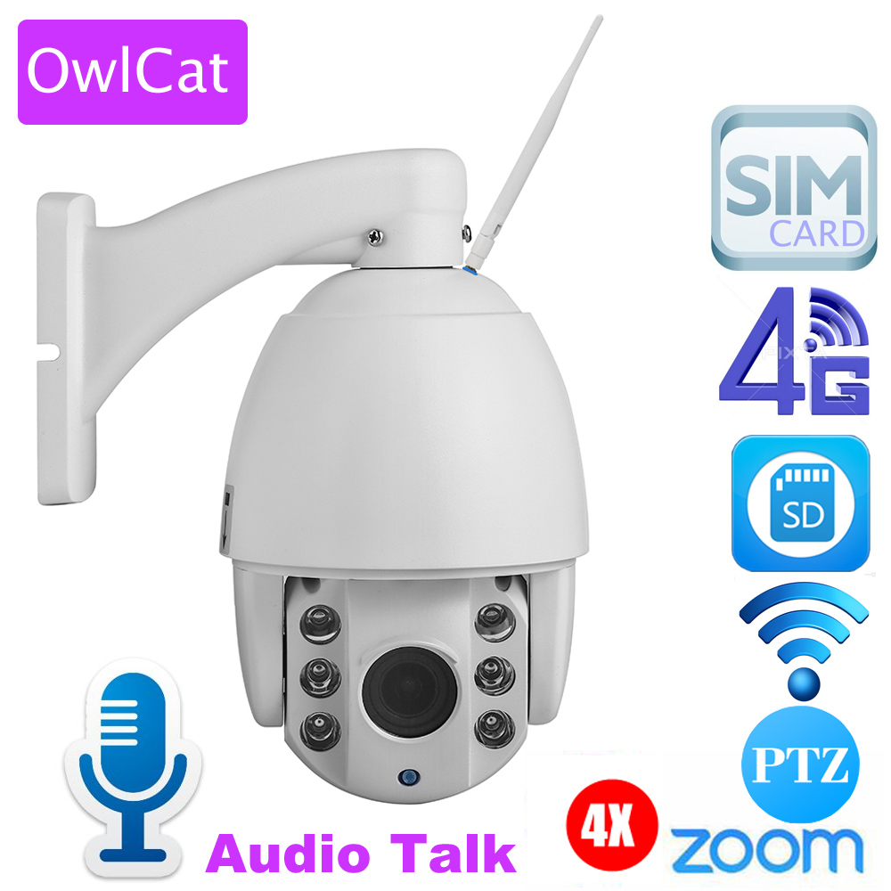 OwlCat HD 3G 4G SIM Card PTZ Speed Dome IP Camera 1080P Outdoor 4x Optical Zoom SD Card Night Vision Infrared CCTV P2P Camara remote control dvr dome camera led array sd card tv output up to 20m night vision dome camera recorder free shipping