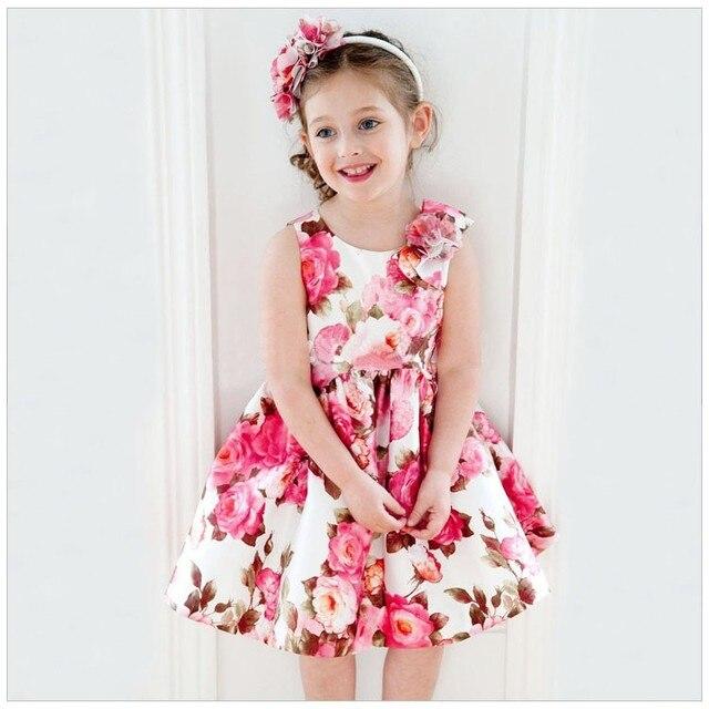 Розничная 2016 Новый Летний платье для девушки Красивые девушки роуз принцесса платья без рукавов детские платья
