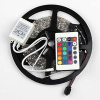 5M/16.4 Ft SMD 3528 RGB 300 LED Color Changing Kit with Flexible Strip Light+24 Key IR Remote Control+ Power Supply