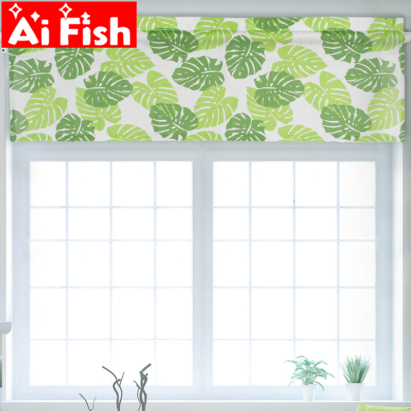 Window Treatments Nordic Pastoral Print Green Banana Leaf Short Curtain European Kitchen Decorative Coffee Home Curtain Valance Cloth Dl024-40 Products Are Sold Without Limitations Curtains