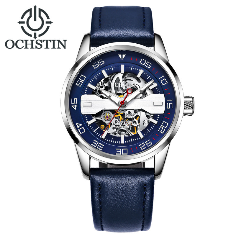 OCHSTIN Waterproof Mechanical Watch Men Leather Strap Men's Quartz Wristwatches Automatic Men Watch Male Clock Erkek Kol Saati 2018 fashion watch men retro design leather band analog alloy quartz wrist watch erkek kol saati