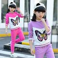 Spring girl set 2017 new children cartoon butterfly hoodies+pant girls sport suit