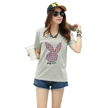 Women Loose Tee Shirt Plus Size Fashion Short Sleeve T-shirt Cotton Summer Korean Casual O-neck Printed Tops 4 Colors Hot Sale
