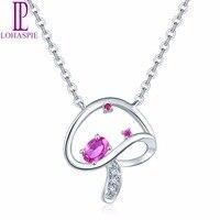 Lohaspie кулон и Цепочки и ожерелья SOLID 18 К белого золота природных драгоценных камней Рубин & diamond Ювелирные украшения для Для женщин Подарок Но