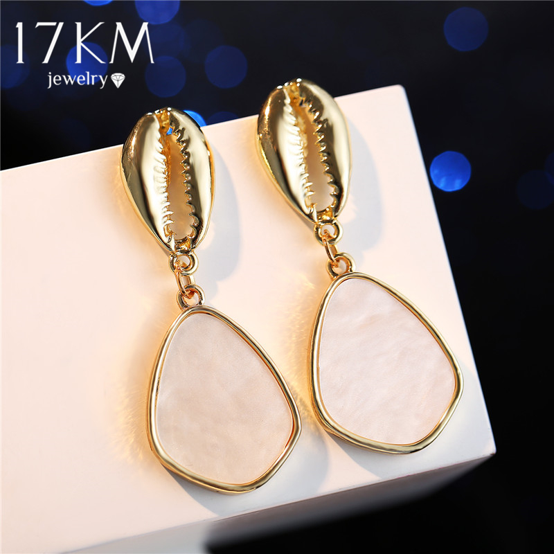 17KM Dangle-Earrings Jewelry Sequin-Stone Geometric Wedding-Statement Elegant Heart Gold