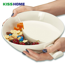 White Creative 2 in 1 Separated Bowls with Handle For Milk Cookie Cereal Snack Double Layers Lazy Convenient Krispy Bowl