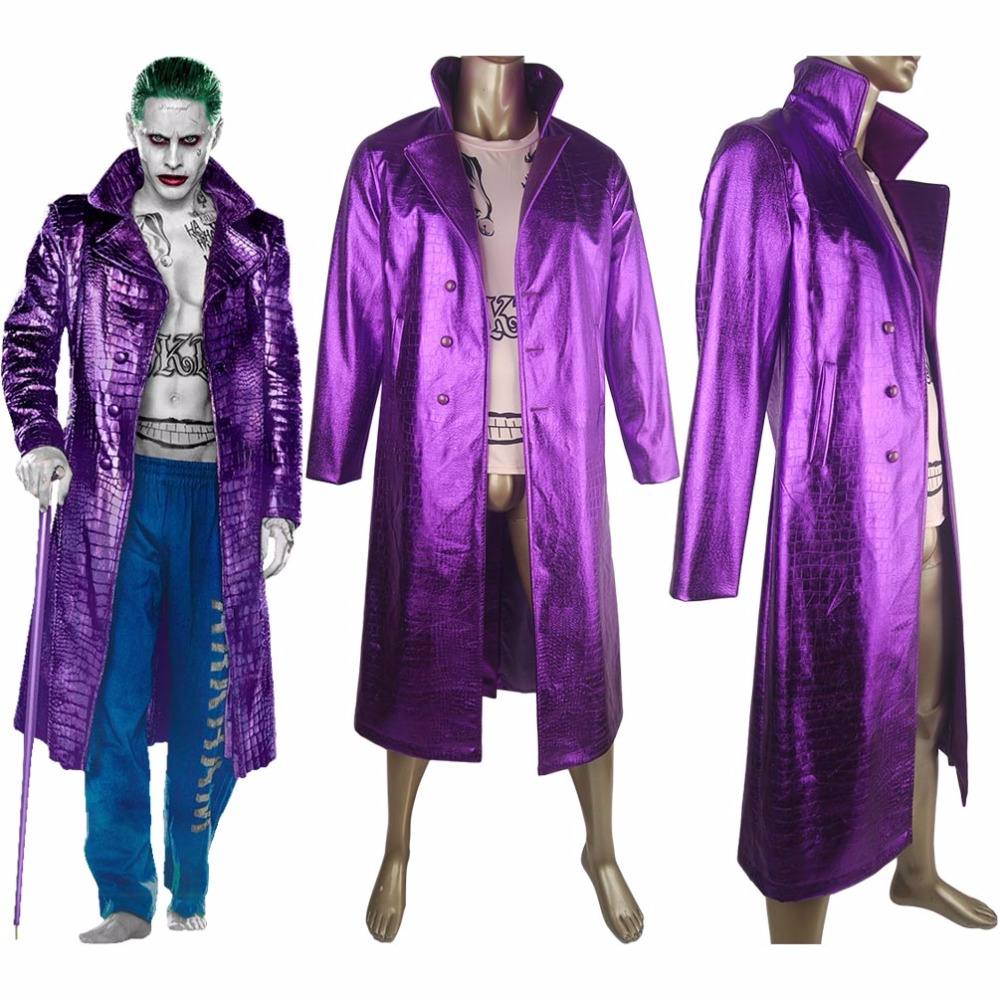 Suicide Squad Joker Jared Leto Trench Coat Jacket Outfit  Halloween Cosplay Costume Comic-con Men