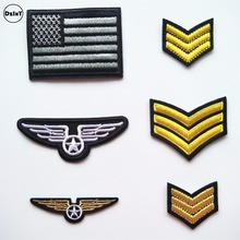 1 PCS Military Rank parches Embroidered Iron on Patches for Clothing DIY Motif Stripes Clothes Stickers American flag Badges @Q