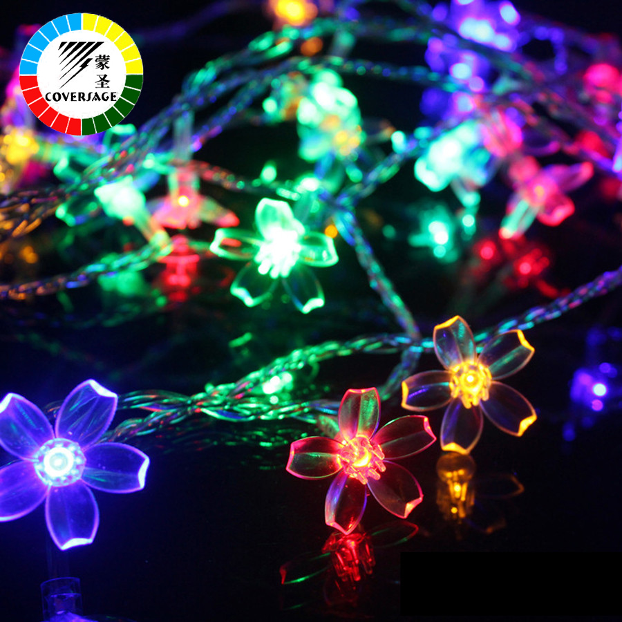 Coversage 10M 100 Leds Christmas Garland String Holiday Lighting Flower Waterproof Lights Binnen Buiten Bruiloft Decoratie