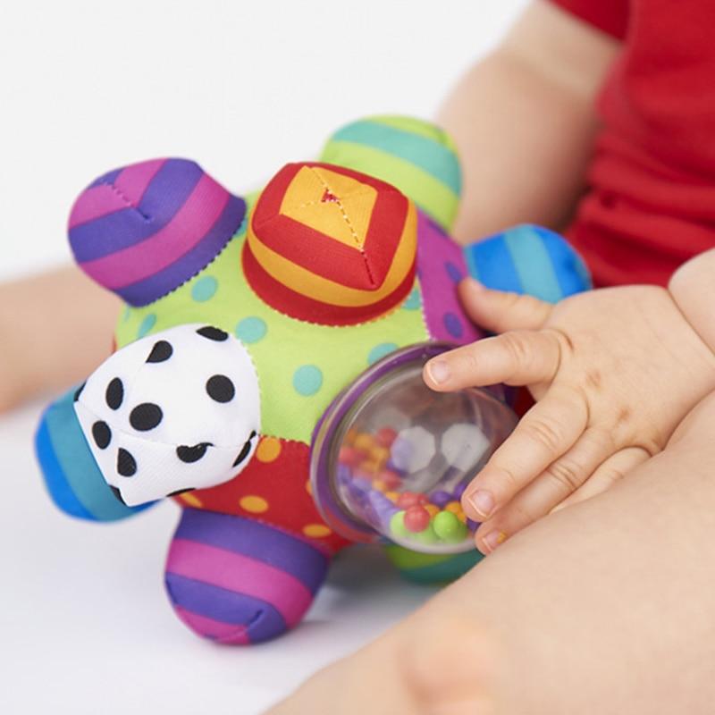 Image 2 - لعبة مرحة للأطفال كرة ضخمية قماش ناعم بقماش ناعم بقماش ناعم لعبة تدريب على شكل جرس قدرة على الإمساك للأولاد والبنات خاتم ألعاب هدية للأطفالhand rattlerattle bellbaby toys -