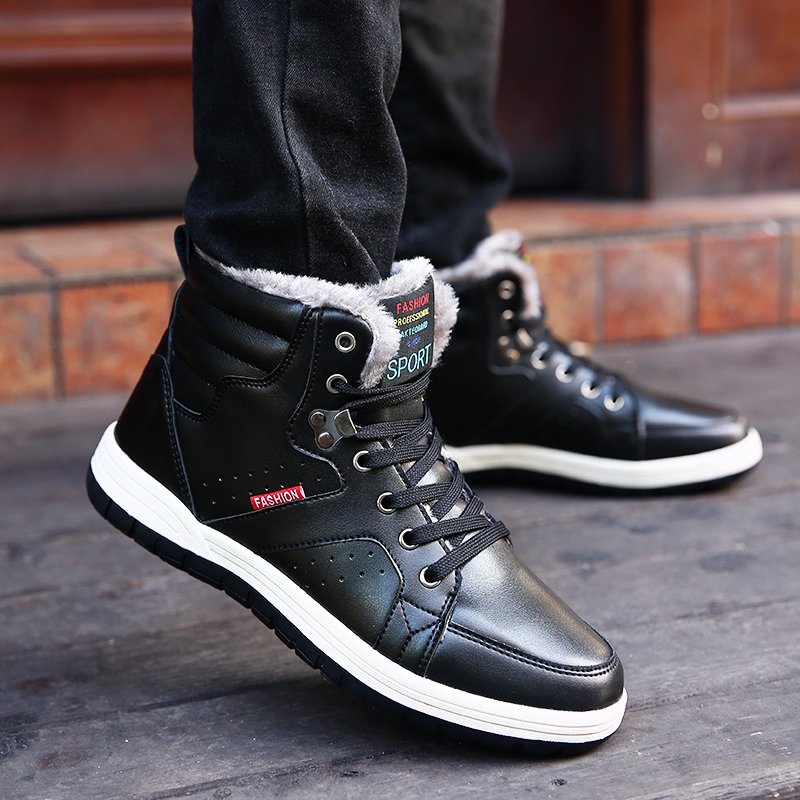 LAISUMK New Fashion Men Winter Shoes Comfortable Keep Warm Ankle Boots For Male Wear resisting PU Waterproof Rain Boots Big Size in Basic Boots from Shoes