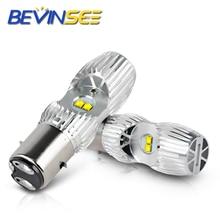 2pcs Led H4 P15D BA20D Motocycle Light Headlight Bulbs Hi/Low Beam 1000LM 6000K White Lamps