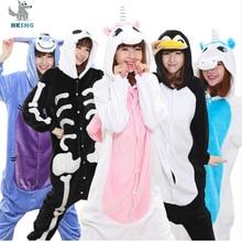 HKSNG Unisex New Animal Unicorn Kigurumi Flannel Cartoon Stitch Panda Bat Skull Cat Family Party Pajamas Onesies Costumes