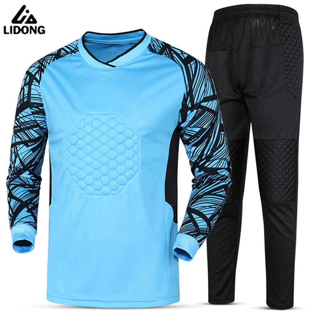2017 Quick Dry soccer goalkeeper jerseys set men's sponge football long sleeve goal keeper uniforms goalie sport trainining suit