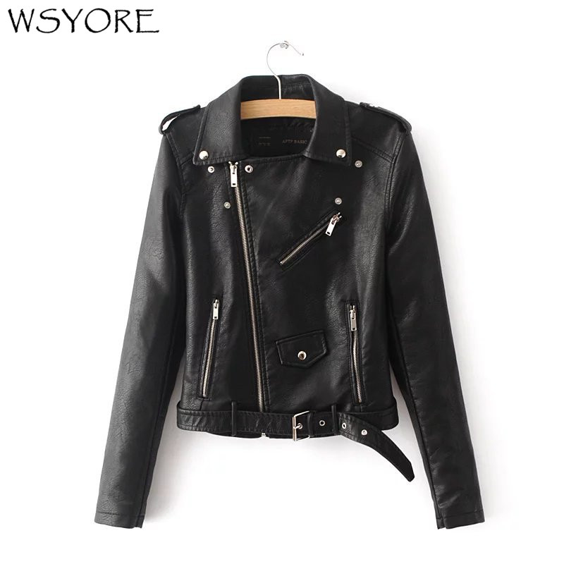 WSYORE Hot Sale 2019 New Autumn Witner Women Motorcycle Faux PU   Leather   Black Jackets Lady Biker Outerwear Coat with Belt NS298