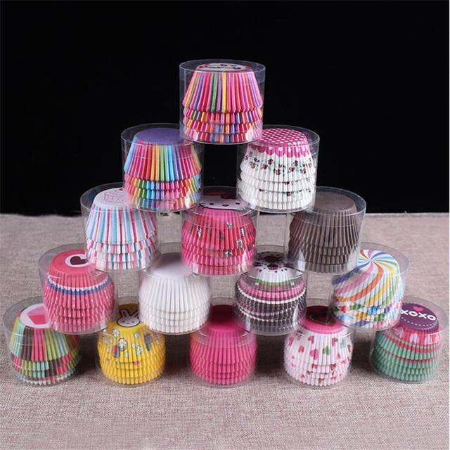 100 PZ Colore Arcobaleno Tazza di Carta Tazza PVC Anti-olio Al Cioccolato Muffin