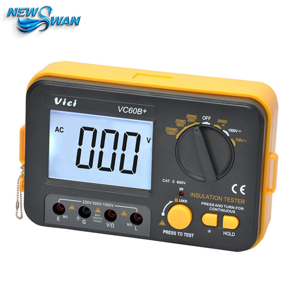 VC60B+ Digital Insulation Resistance Tester VICI Megger MegOhm Meter 250V 500V 1000V High Voltage And Short Circuit Input Alarm digital high voltage insulation megger tester se ar907
