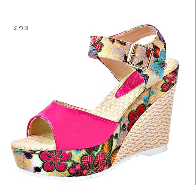 2018 Hot New Fashion Women Sandals Summer Wedges Women's Sandals Platform Lace Belt Bow Flip Flops Open Toe High-heel Size 35-39 fashion sandals women comfortable party high heel flip flops 2018 summer sandals wedges shoes chaussures femme