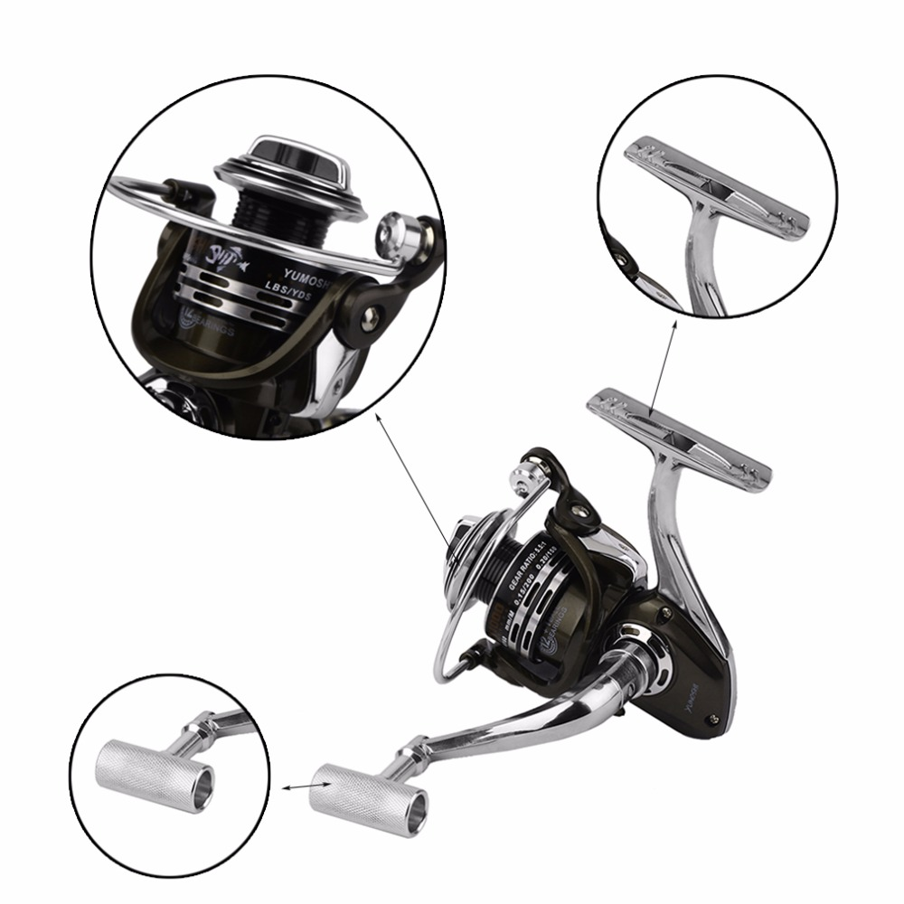 YUMOSHI By1000-7000 Aluminum Alloy Body 5.5:1 Spinning Reel High Speed 12+1 Outdoor Casting Fishing Reel With Fishing Line