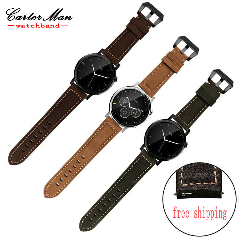for moto 360 genuine leather watchband fit Smart strap moto 360 1st and 2nd 22mm black brown army green dark brown leather band hot 22mm white 100% genuine leather watch strap bands for motorola moto 360 smart watch