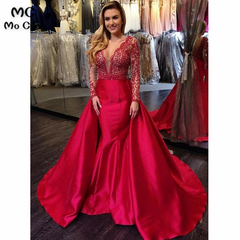 ef98800a94 Aliexpress.com : Buy Hot Pink 2018 Mermaid Off Shoulder Evening Dresses  with Beaded Hard Satin Long Sleeve Formal Evening Party Dress for Women  from ...