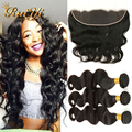 Brazilian Hair Weave Bundles With Closure 13*4 Ear To Ear Lace Frontal Closure With Bundles 7A Body Wave Virgin Brazilian Hair