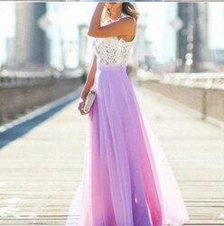 Koronkowa Sukienka szyfonowa Sukienka Party biuro Sukienka Maxi bez rękawów szata Longue Femme różowy żółty niebieski Vestidos Mujer kobiety ubrania 5