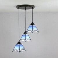 Mediterranean Blue 3 Heads Stained Glass Modern Square Restaurant Pendant Lights 110 240V Dia43CM Bar Three
