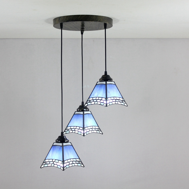 Mediterranean Blue 3 heads Stained glass modern square Restaurant Pendant Lights 110-240V Dia43CM bar Three pandant lamps E27