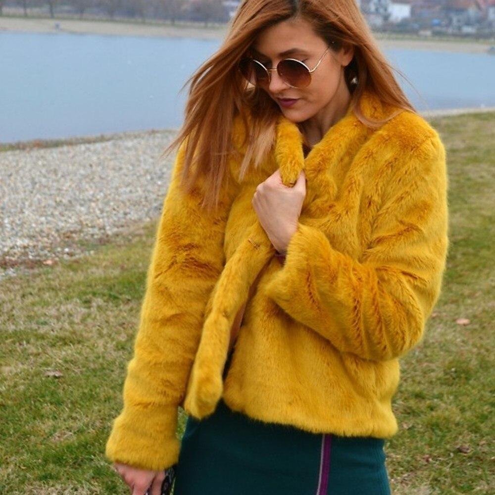 GTGYFF autumn winter long sleeve Mustard yellow faux fur ...