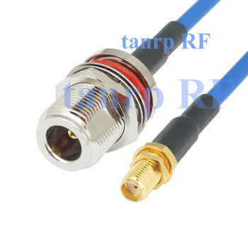 10PCS 15CM Flexible blue jacket jumper cable RG402 6inch N female with nut bulkhead to SMA female jack RF adapter connector