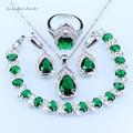 L&B Pretty Water Drop Green Imitation Emerald  silver 925 Jewelry Sets Bracelet/Pendant/Necklace/Earrings/Ring