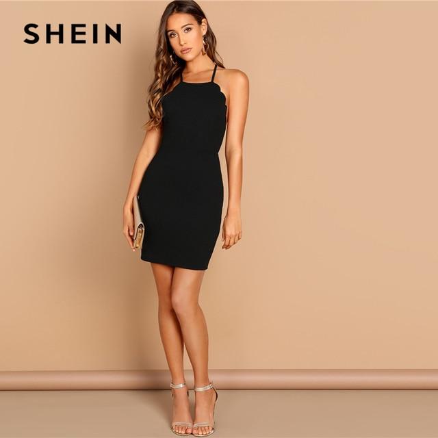 SHEIN Black Scallop Trim Halter Dress Elegant Spaghetti Strap Solid Slim Short Dress Summer Modern Lady Women Sexy Party Dresses 3
