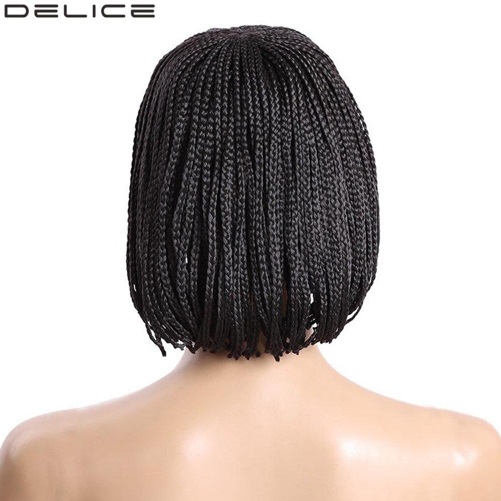 DELICE delle Donne Parrucche Bob Corto Nero Micro Intrecciato Scatola Trecce Parrucca Ad Alta Temperatura In Fibra Sintetica Posticci