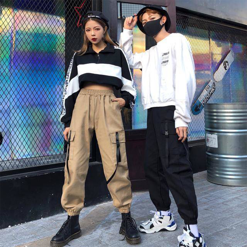 Mens Pockets Cargo Harem Pants Womens 2019 Casual Joggers Baggy Tactical Trousers Harajuku Streetwear Hip Hop Fashion Swag Mens