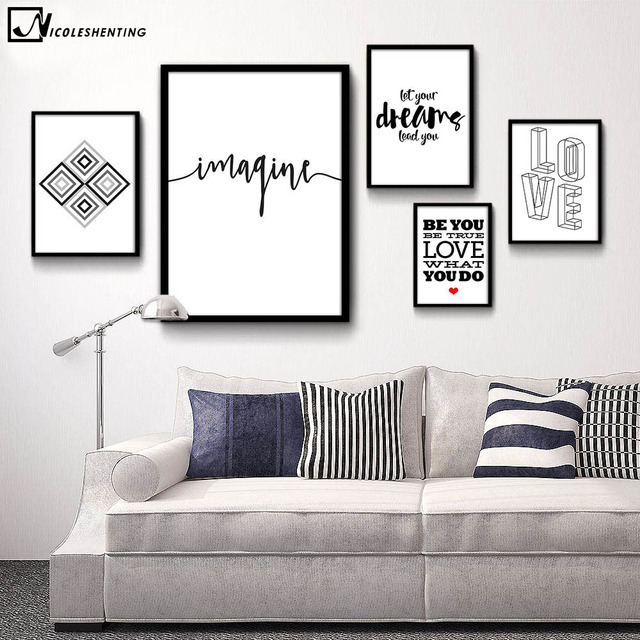 Attractive Motivational Quote Minimalist Art Canvas Poster Print Abstract Painting Black  White Wall Picture Modern Home Decoration
