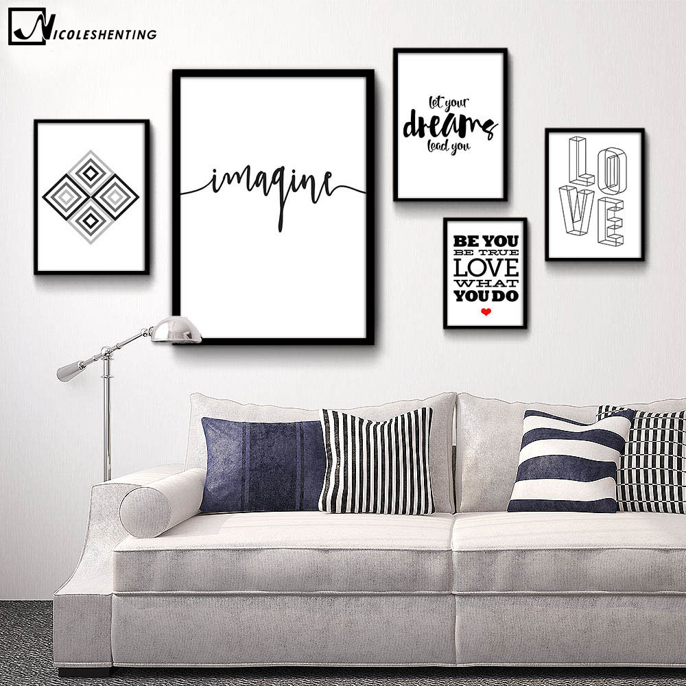 Motivational quote minimalist art canvas poster abstract for Modern black and white wall art
