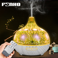FUNHO 400ml Remote Control 3D Ultrasonic Air Humidifier Glass Essential Oil Diffuser Aromatherapy 7 LED Night Light for Home