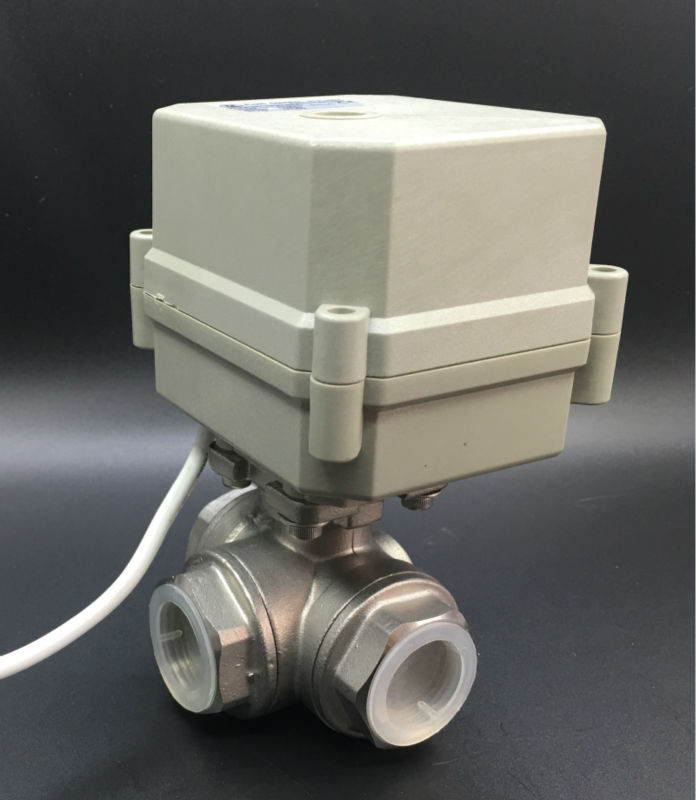 3/4'' (DN20) Stainless Steel 3 Way T Type Motorized Ball Valve DC24V 3 Wires For Water Automatic Control CE/IP67 TF20-S3-C free shipping 3 4 dn20 female brass ball valve t type three way connection stainless steel 304