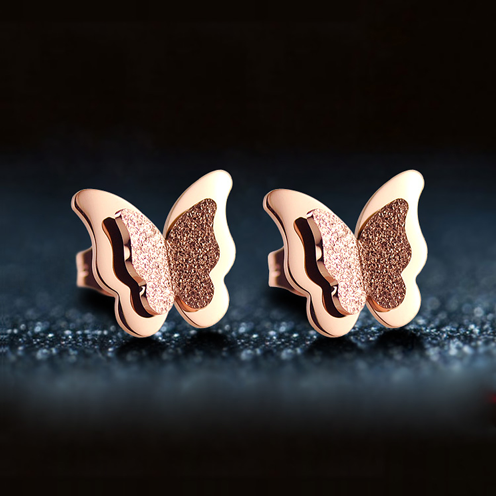 Stud Earrings Stainless Steel Rose Gold