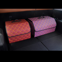 1pc Auto Interior Accessories Car Trunk Storage Bag PU Leather Folding Storage Box Car Trunk Tidy